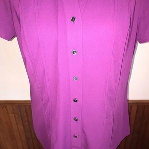 Dana Buchman Tops - Dana Buchman Purple Short-Sleeve Blouse Size Med